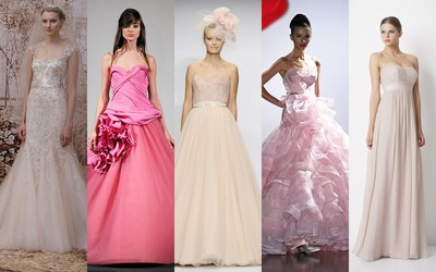 Pink Wedding Dresses (From left: 1.  Monique Lhullier, 2. Vera Vang, 3. Watters Bridal, 4. Austin Scarlett, 5. George)